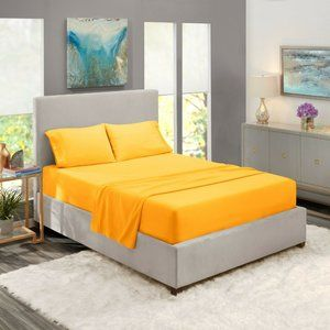 Yellow Egyptian Comfort Bed Sheets 4 Piece! Sale!